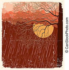evening., arbre, papier, vieux, fond, illustration, pleuvoir, paysage, vecteur, nature