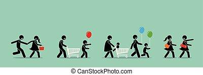 event., achats, carnaval, ventes, shoppers, aller, heureux