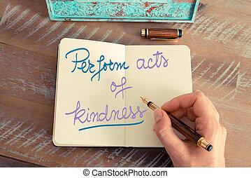 exécuter, texte, gentillesse, actes, manuscrit