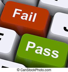 examen, exposition, clés, échouer, résultat, passe, essai, ou
