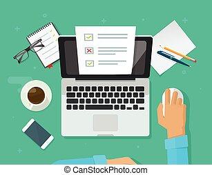 examen, papier, ligne, formulaire, interroger, feuille, informatique, vecteur, ordinateur portable, projection, fonctionnement, personne, document, enquête