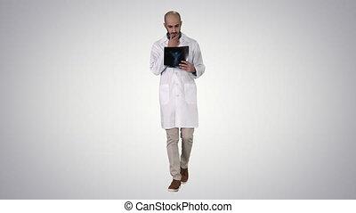 examiner, marche, radiographie, docteur, gradient, arrière-plan., quoique, poumon