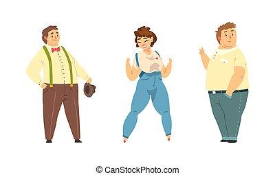 excès poids, illustration, dessin animé, concept, plus, heureux, vecteur, ensemble, corps, positif, porter, désinvolte, gai, gens, vêtements, mâle, caractères, femme, sie