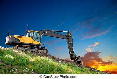 excavateur, coucher soleil