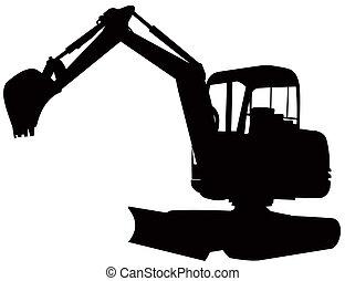 excavateur, retro, excavateur, mécanique