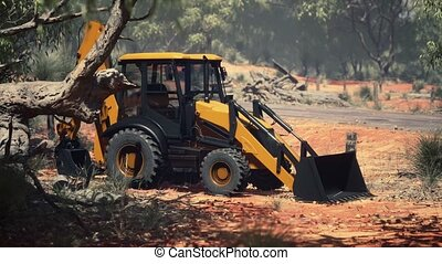 excavateur, tracteur, buisson, forêt