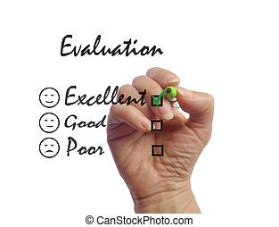 excellent, evaluation., enquête, client, signe, réaction
