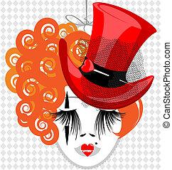 excentrique, image, chapeau, rouges, dame