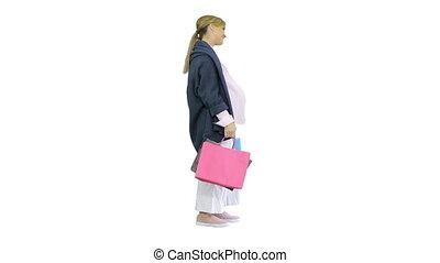 exciter, blanc, sacs, heureux, tenue, blond, achats, femme, beau, arrière-plan., pregnant