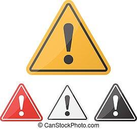 exclamation, danger, set., attention, signe danger, avertissement, point, signe.