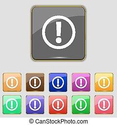 exclamation, ensemble, mark., attention, symbole., signe danger, boutons, avertissement, vecteur, icon., couleur
