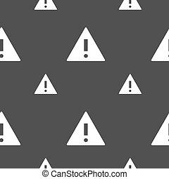 exclamation, gris, modèle, mark., attention, symbole., signe danger, arrière-plan., vecteur, seamless, icon., avertissement