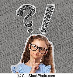 exclamation, mignon, tête, lunettes, pensée, question, gris, arrière-plan., au-dessus, signes, petit, girl, gosse
