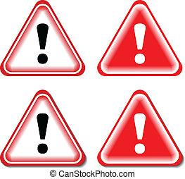 exclamation, signe danger, isolé, illustration, vecteur, signs., rouges