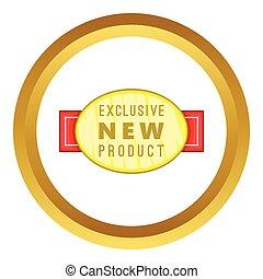 exclusif, étiquette produit, vecteur, nouveau, icône