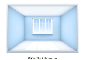 exemple, salle, vide, fenêtre.