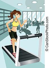exercice, femme, gymnase