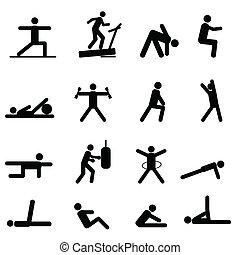 exercice forme physique, icônes