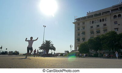 exercice, hommes, acrobatique, rue, jeune, projection, deux