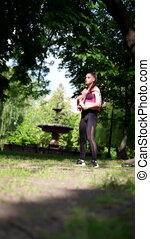 exercice, jeune femme, parc