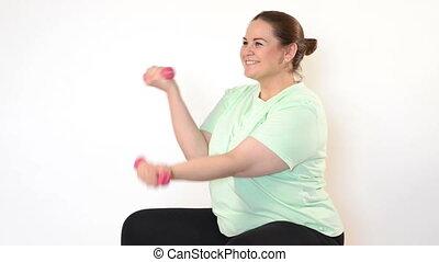 exercices, confection, femme, dum, graisse
