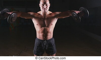 exercices, culturiste, dumbbells, type, musculaire