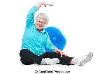 exercices, femme aînée, étirage