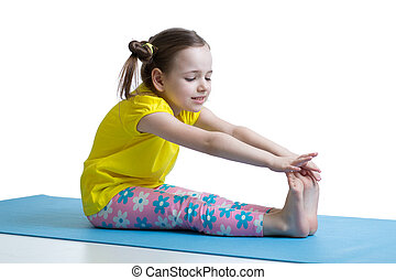 exercices, girl, enfant, fitness