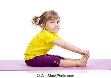 exercices, girl, gymnastique, enfant