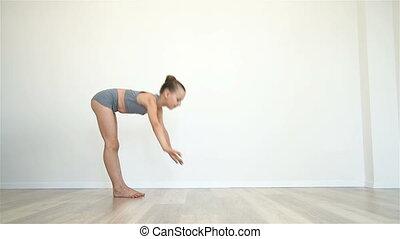 exercices, girl, yoga