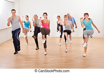 exercices, groupe, aérobic, gens