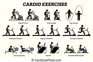 exercices, gym., formation, cardio, fitness