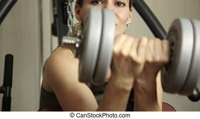 exercices, gymnase, dumbbells, girl, fitness