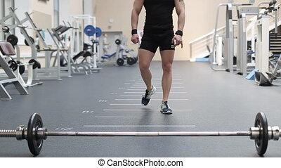 exercices, gymnase, jeune homme