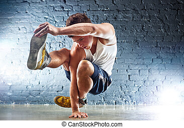 exercices, homme, jeune, sports