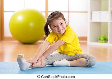 exercices, preschooler, girl, fitness, enfant