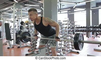 exercices, séance entraînement, gymnase, jeune homme