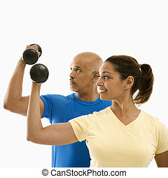 exercising., femme, homme