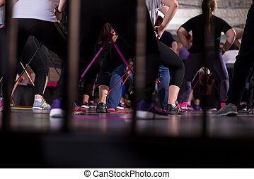 exercisme, bandes, femmes, sportif, caoutchouc