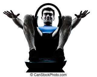 exercisme, pilates, séance entraînement, bosu, homme, fitness, anneau, attitude