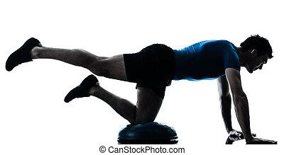 exercisme, séance entraînement, bosu, homme, fitness, attitude