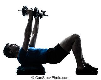 exercisme, séance entraînement, poids, bosu, homme, formation, fitness, attitude