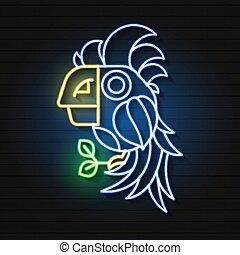 exotique, été, éléments, signe, perroquet, néon
