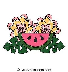 exotique, été, feuilles, fleur, pastèque