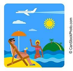 exotique, été, plage