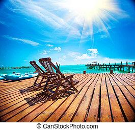 exotique, antilles, tourisme, concept., voyage, exotique, recours, vacances, paradise., plage, ou