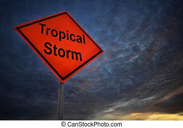 exotique, avertissement, orage, panneaux signalisations