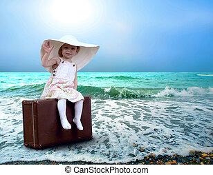 exotique, bagages, plage, jeune enfant