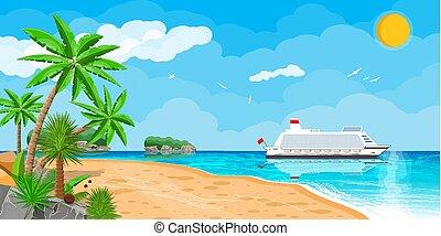 exotique, bateau, plage, croisière