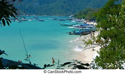 exotique, bateaux, tour, plage, bondé